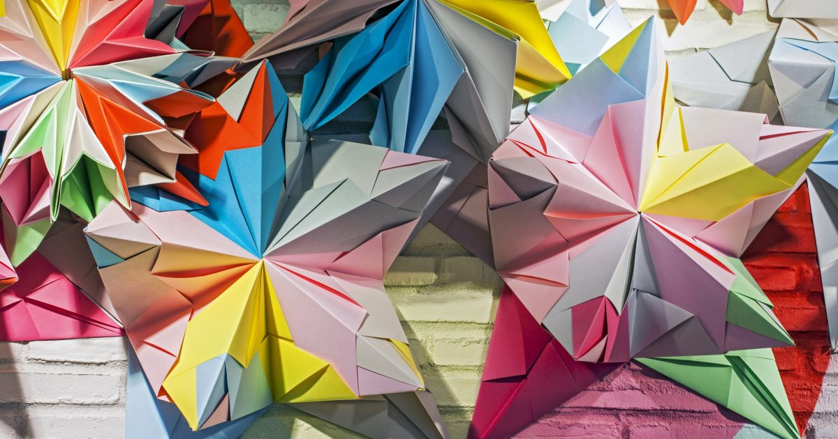 Origami Animals Bound Across Walls in Murals by 'Annatomix' | Colossal | 630x1200